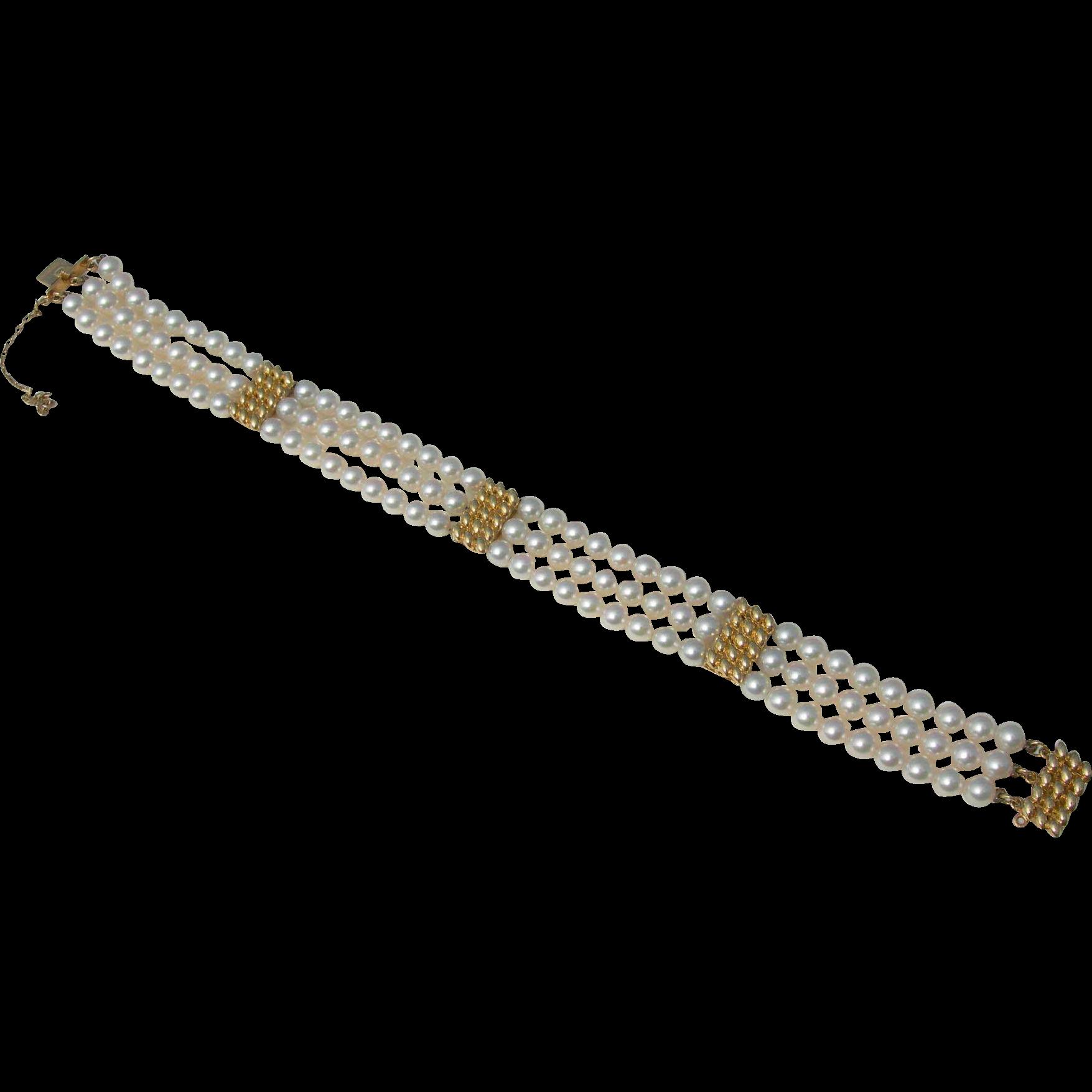 Mikimoto Pearls - 18k Yellow Gold -  3 Strand Bracelet