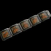 German Matte Enamel - Sterling Silver - Large Link Bracelet - Unsigned Perli - Owl Motif