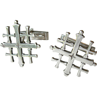 James Avery - Sterling Silver - Jerusalem Cross - Retired Cuff Links