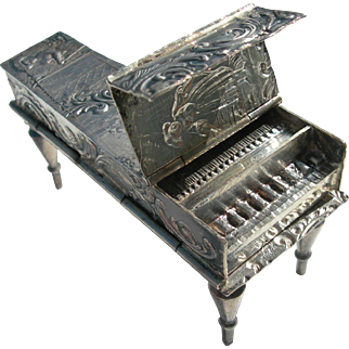 Miniature Piano Double Snuff Box - Antique Dutch Sterling - British Import Hallmarks - 1900