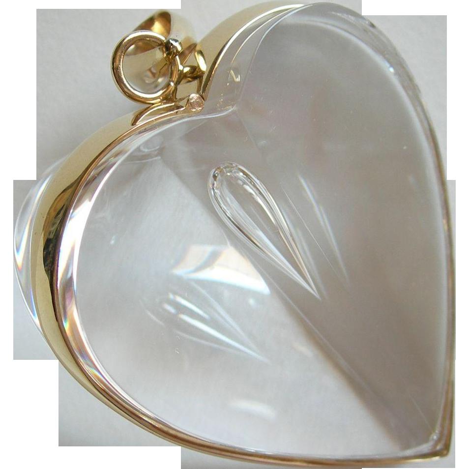 Steuben Glass Teardrop Heart - 18K Yellow Gold - 1977 - Steuben Pouch