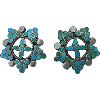 Vintage Zuni Dishta Style – Turquoise & Sterling – Flush Inlay – Screw Back Earrings