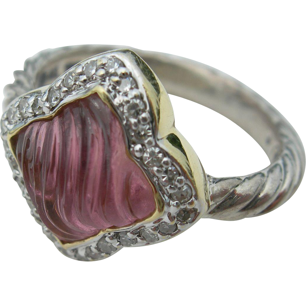 David Yurman - Sterling Silver and 18K - Diamonds and Pink Tourmaline - Quatrefoil Ring - Size 6 1/2