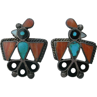 Leo Poblano Style - Vintage Dot Inlay - Hopi Bird Earrings
