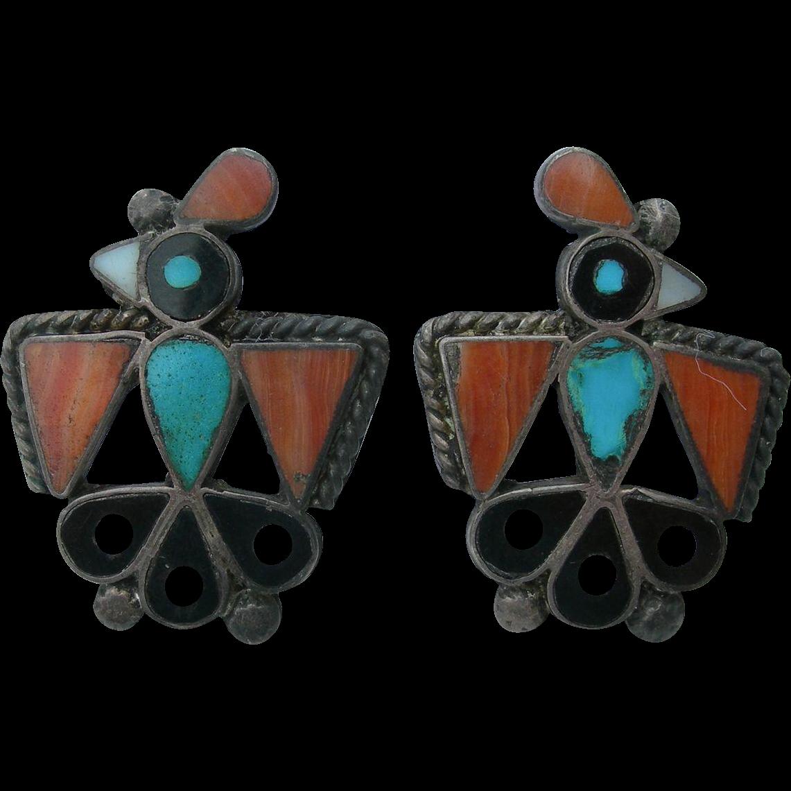 Leo Poblano Style - Vintage Dot Inlay - Hopi Bird Earrings