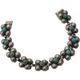 Fred Davis - Sterling Silver and Turquoise - Bracelet - 1930s