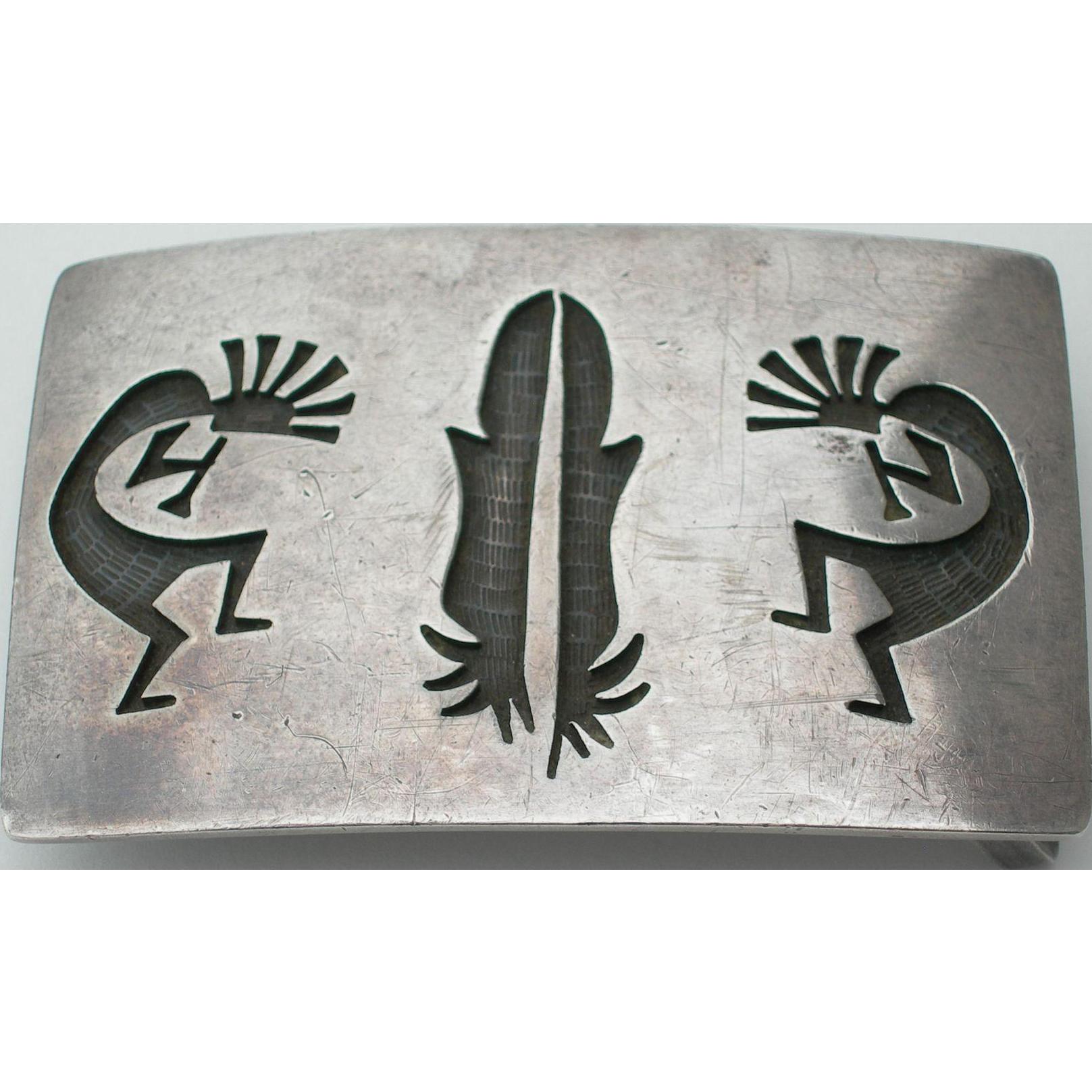 Roy Tawahongva - Hopi Overlay - Sterling Silver Belt Buckle - 1970s