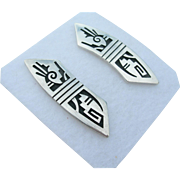 Roy Talaheftewa - Hopi Over Lay - Sterling Silver - Earrings