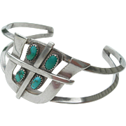 Frank Patania Sr - Sterling Silver and Turquoise - Bracelet - Tohono Symbol
