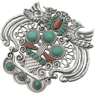 Matl Poulat - Sterling - Turquoise and Coral - Kinetic Brooch - Doves