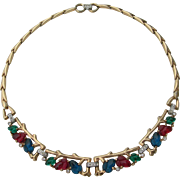 Crown Trifari - Fruit Salad - Gold Tone Necklace - 1948