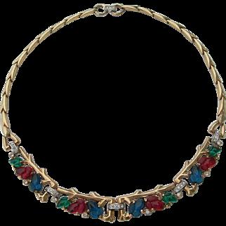 Crown Trifari - Fruit Salad - Gold Tone Necklace - 1948