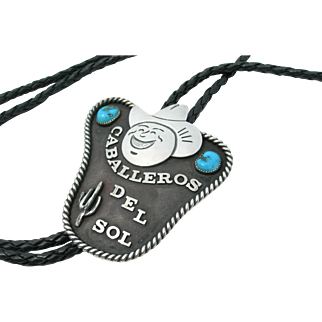 Frank Patania Sr - Sterling Silver and Turquoise - Caballeros del Sol - Bolo Tie