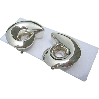 Patricia von Musulin - Sterling Silver Swirl  - Large Clip On Earrings