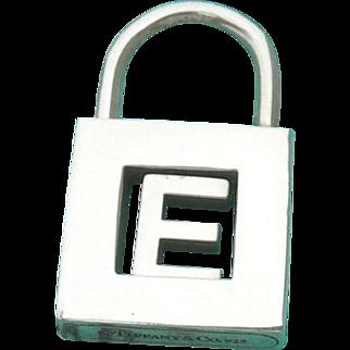 "Tiffany & Co - Sterling Silver - Padlock Charm Pendant - Initial ""E"""