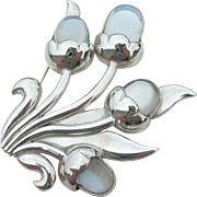 Antonio Pineda - Sterling Silver 970 and Moonstone - Floral Spray Pin Brooch