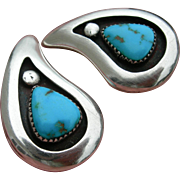 Frank Patania Sr - Sterling Silver and Turquoise - Clip On Earrings
