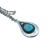 Frank Patania Sr - Sterling Silver and Turquoise - Large Pendant with Chain