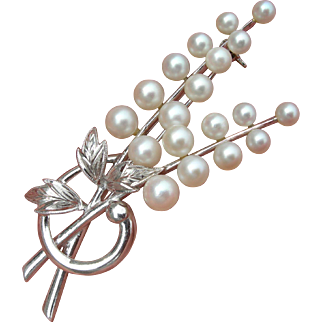 Vintage Mikimoto - Sterling Silver - Leaf Spray Brooch - 19 Pearls