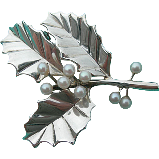 Tiffany & Co Sterling - Christmas Holly Pin Brooch - Vintage