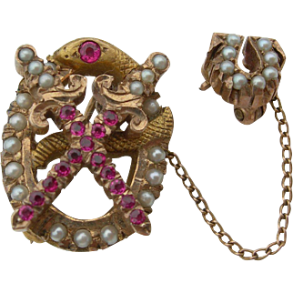 Theta Chi Vintage Fraternity Pin - 14K yellow Gold - Seed Pearls & Rubies