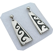 Bernard Dawahoya - Sterling Silver - Hopi Overlay - Earrings