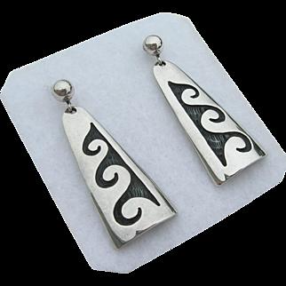 Bernard Dawahoya - Sterling Silver - Hopi Overlay - Earrings