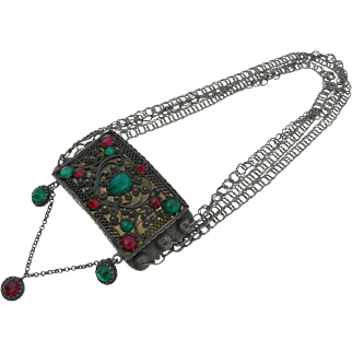 Antique Swedish Necklace - 830 Silver and Paste - 1905