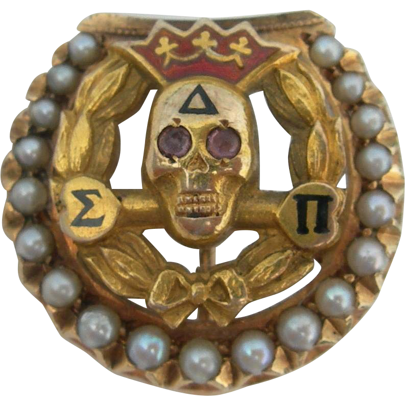 Delta Sigma Pi 14k And Seed Pearls Fraternity Skull