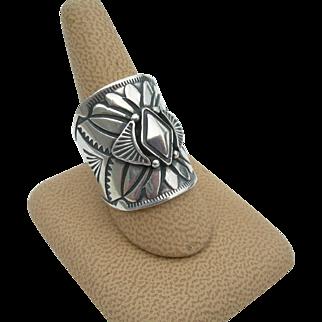Derrick Gordon - Navajo Sterling Silver - Large Stamped Ring