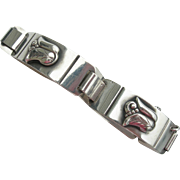 Lawrence Foss - Sterling Silver - Mid Century Arts and Crafts - Paneled Bracelet - Tulip Flower Motif