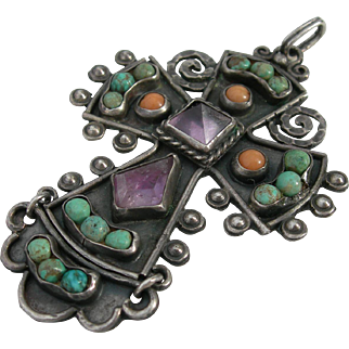 Rivera - Matl Style Cross - Sterling Turquoise Amethyst Coral - 1940s Mexican