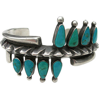 Ramone Platero - Navajo - Sterling Silver and Turquoise - Heavy Bracelet