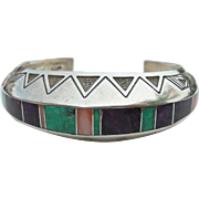 Ray Tracey - Sterling Silver  Bracelet - Turquoise Sugilite Coral Inlay
