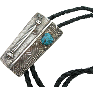 George & Nusie Henry - Sterling Silver & Turquoise - Bolo Tie - Yei Figural
