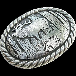 Tom Bahe - Sterling Silver - Heavy Belt Buckle - Elk