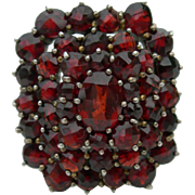 Antique Bohemian Garnet - 3 tier cluster -  Gold on Silver - Size 7