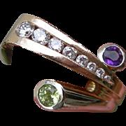 Cornelis Hollander - 14K Ring - Diamonds Amethyst and Peridot