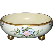 T&V Limoges France Hand Painted Footed Decorative Floral Bowl Gold Edge