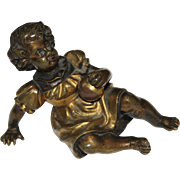 Antique Bronze Baby Girl Figural With Ball