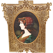 French Bronze Ribbon Frame W/ Victorian Miniature Portrait