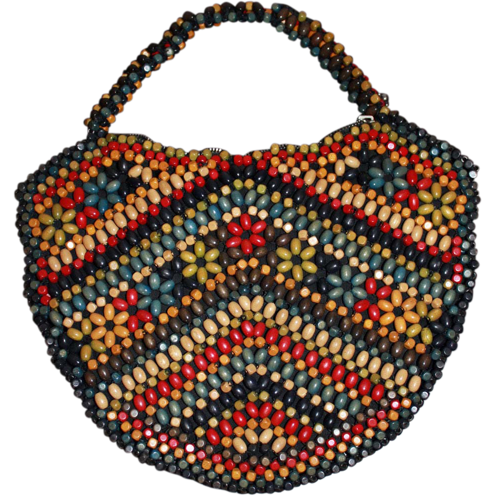 vintage wooden beaded purse handbag sold on ruby
