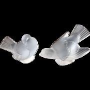 Pair of Lalique Crystal Sparrow Birds