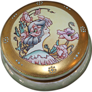 LARGE Antique 1909 Limoges Round Dresser Box Lady with Flowers