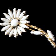 Vintage Juliana White Milk Glass Flower Pin