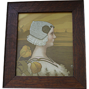 Antique Paul Berthon Lithograph Portrait of Queen Wilhelmina in Wood Frame