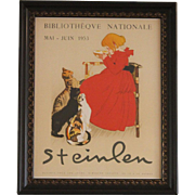 Steinlen Bibliotheque Nationale 1953 Lait Pur Sterilise Cats Framed Vintage Poster