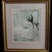 "Signed Listed Artist JEAN JANSEM ""En Repose"" Original Stone Lithograph c.1965"