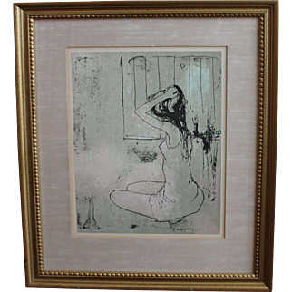 "Signed Listed Artist JEAN JANSEM ""En Repose"" Original Stone Lithograph c.1965"