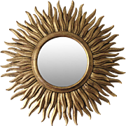 Vintage Roberto Giovannini Sunburst Mirror Handcarved in Italy